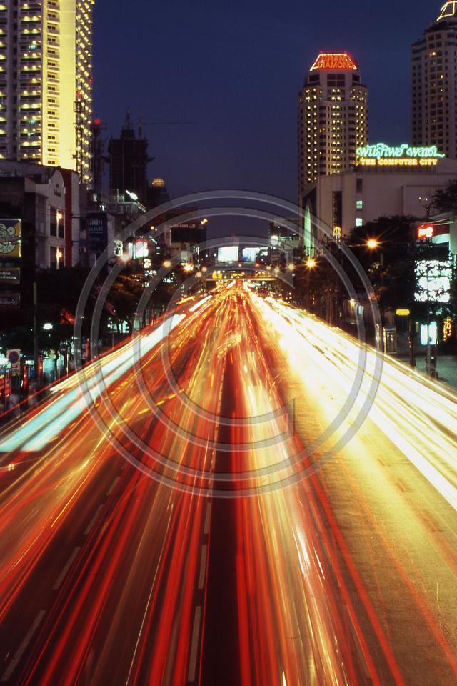 Busy Street Scene in Bangkok, Thailand.